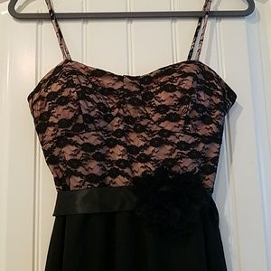 Hi Low Sexy Black Lace Mini Dress Medium